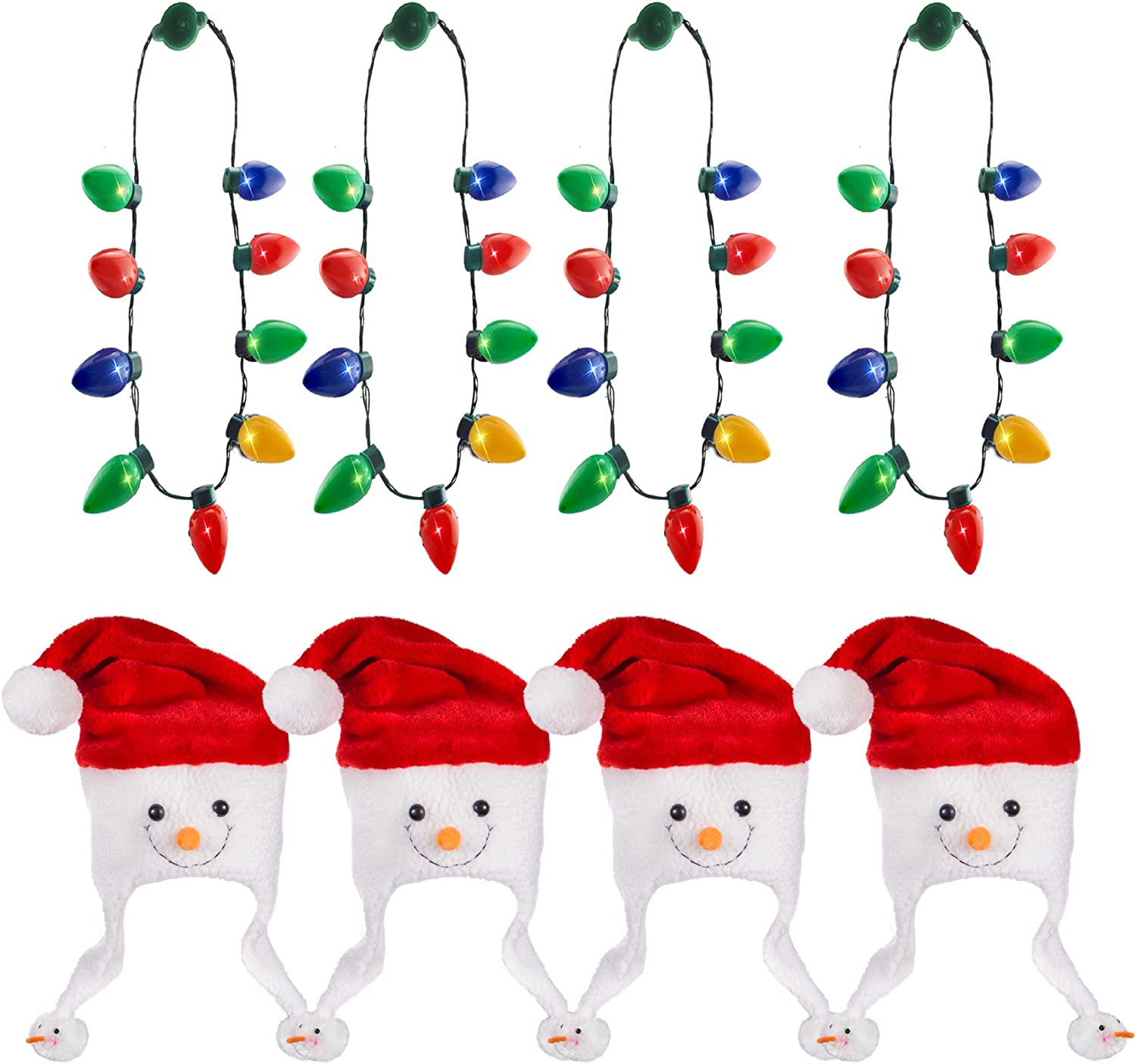 Windy City Novelties Holiday Bundle Kit | 4 Pack LED Christmas Bulb Necklaces & 4 Pack Snowman Holiday Hats for Men Women & Kids