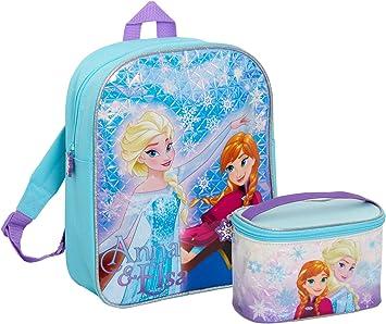 Disney® Frozen Mochila para niñas + estuche a juego para cosméticos, 2 piezas de equipaje grande, juego de almuerzo para niños y guardería escolar, azul (Azul) - MNCK13957: Amazon.es: Ropa y accesorios