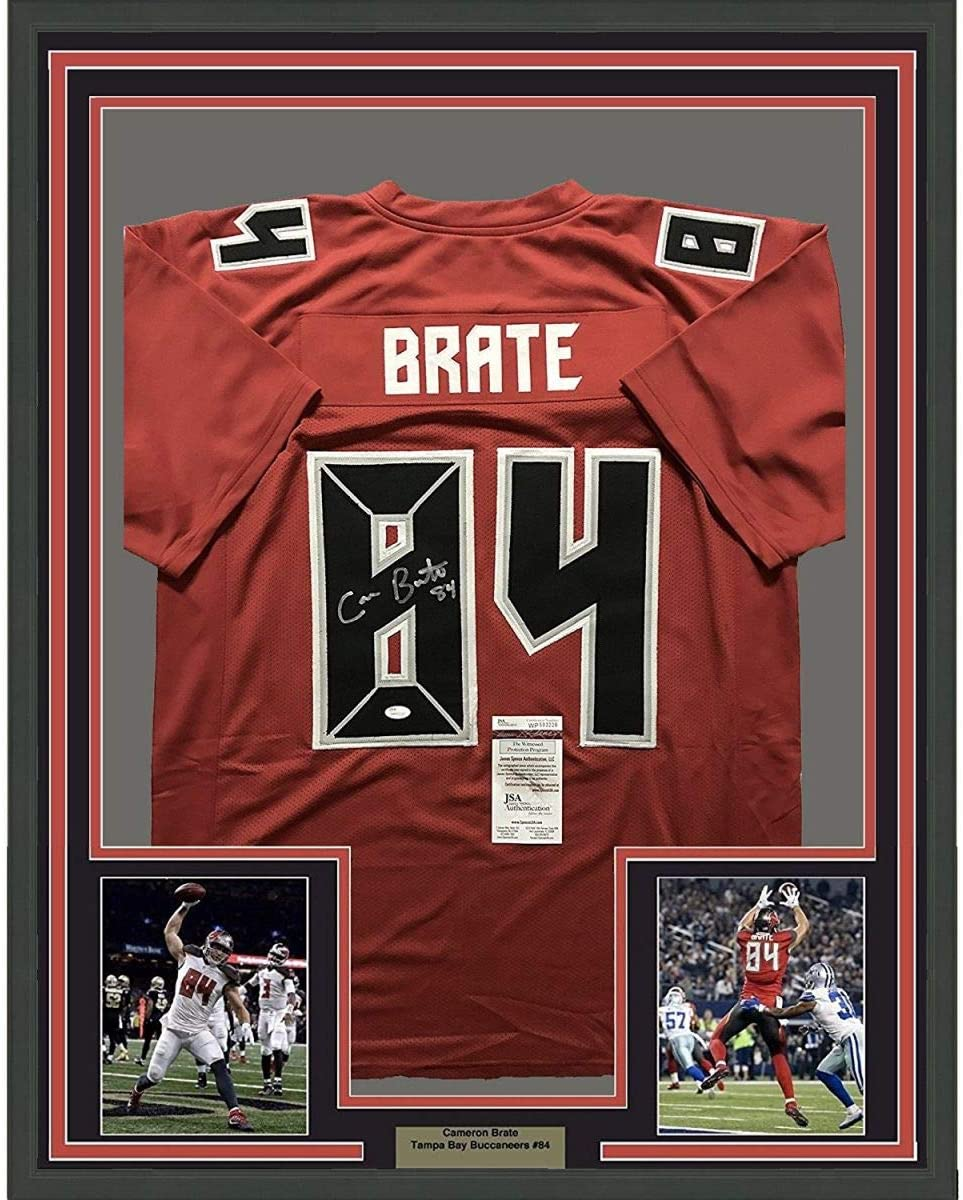 Framed Autographed Signed Cameron Brate 33x42 Tampa Bay Buccaneers Color Rush Football Jersey Jsa Coa At Amazon S Sports Collectibles Store