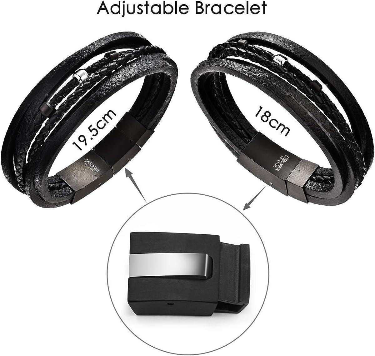 COOLMAN Bracelet pour Homme Multi-Couche de Bracelets Tress/és en Cuir V/éritable avec Boucle en Acier Inoxydable