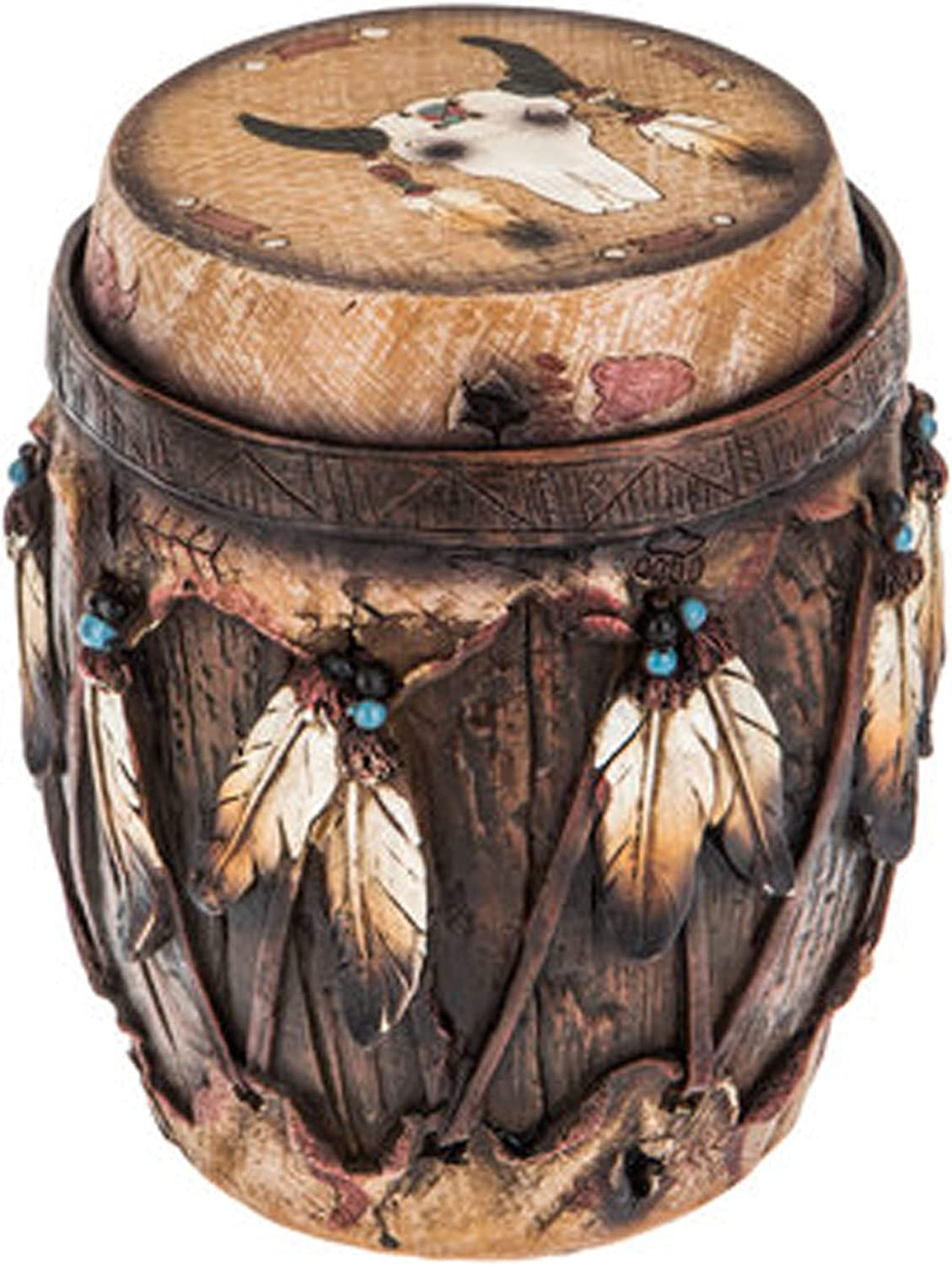 Wisechoice Decorative Native American Round Box with a Brown Barrel-Shaped Drum and Feather Design | Storage for Small Items, 6 in Dia x 7.25 in H