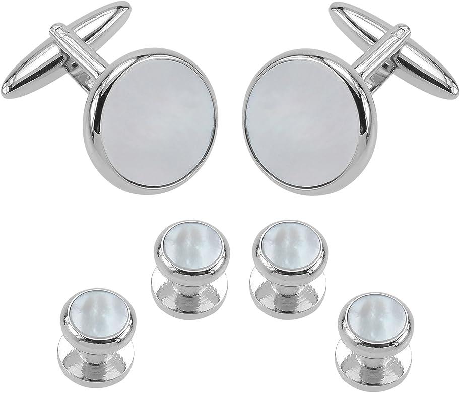 CUFF IT moda hombres Gemelos de Camisa Studs Set Madre Perla blanca redonda con caja de regalo: Amazon.es: Joyería