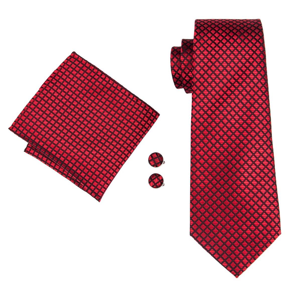 Hi-Tie New Arrive Fashion Woven Silk Necktie Tie Hanky Cufflinks set N-1618