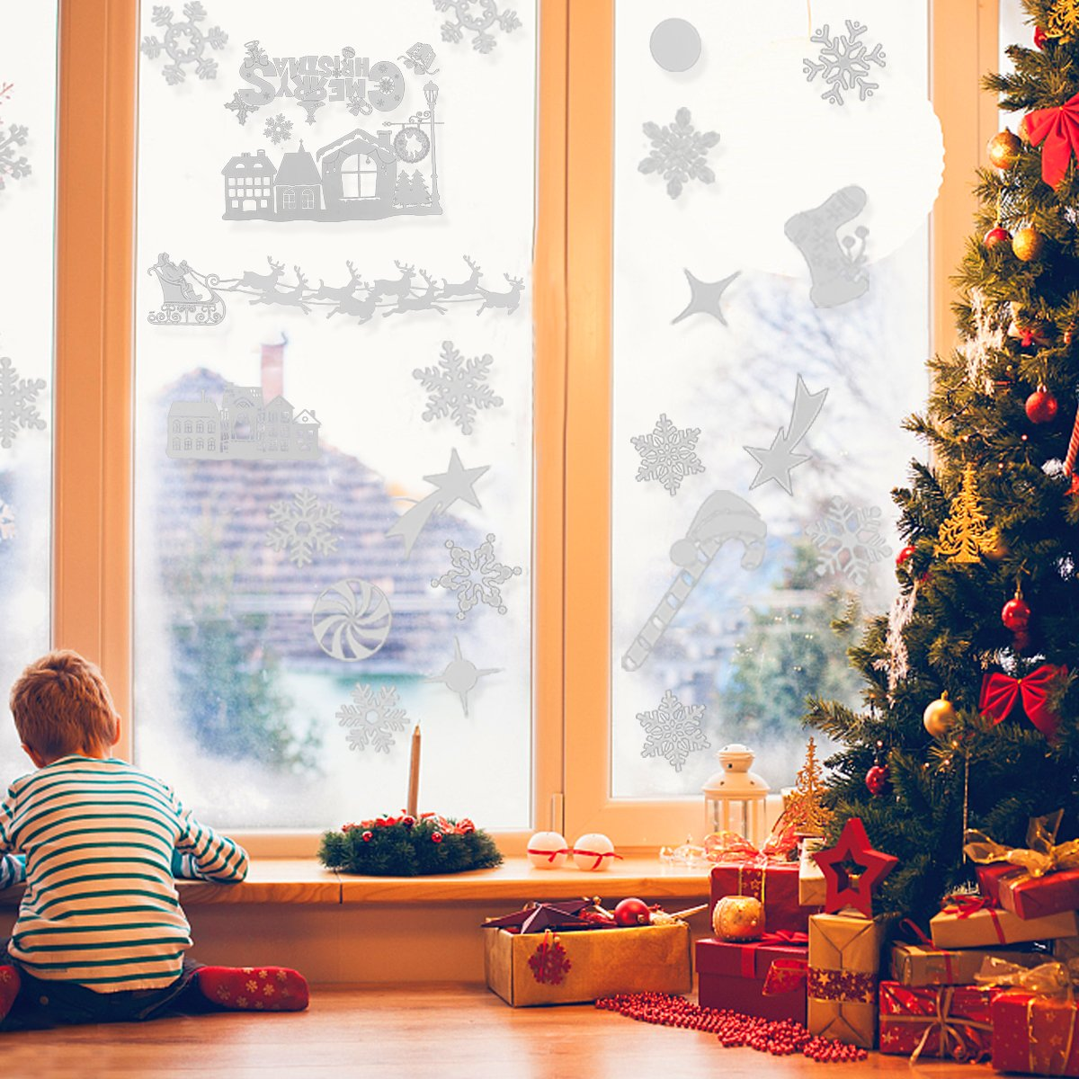 Christmas Window Stickers,White Snowflakes reindeer Window Clings Decal Stickers Xmas Winter Wonderland Decorations Ornaments Party Supplies