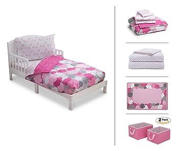 Delta Children Toddler Bedroom Set, Girls 5 Piece (White Toddler Bed|Pink