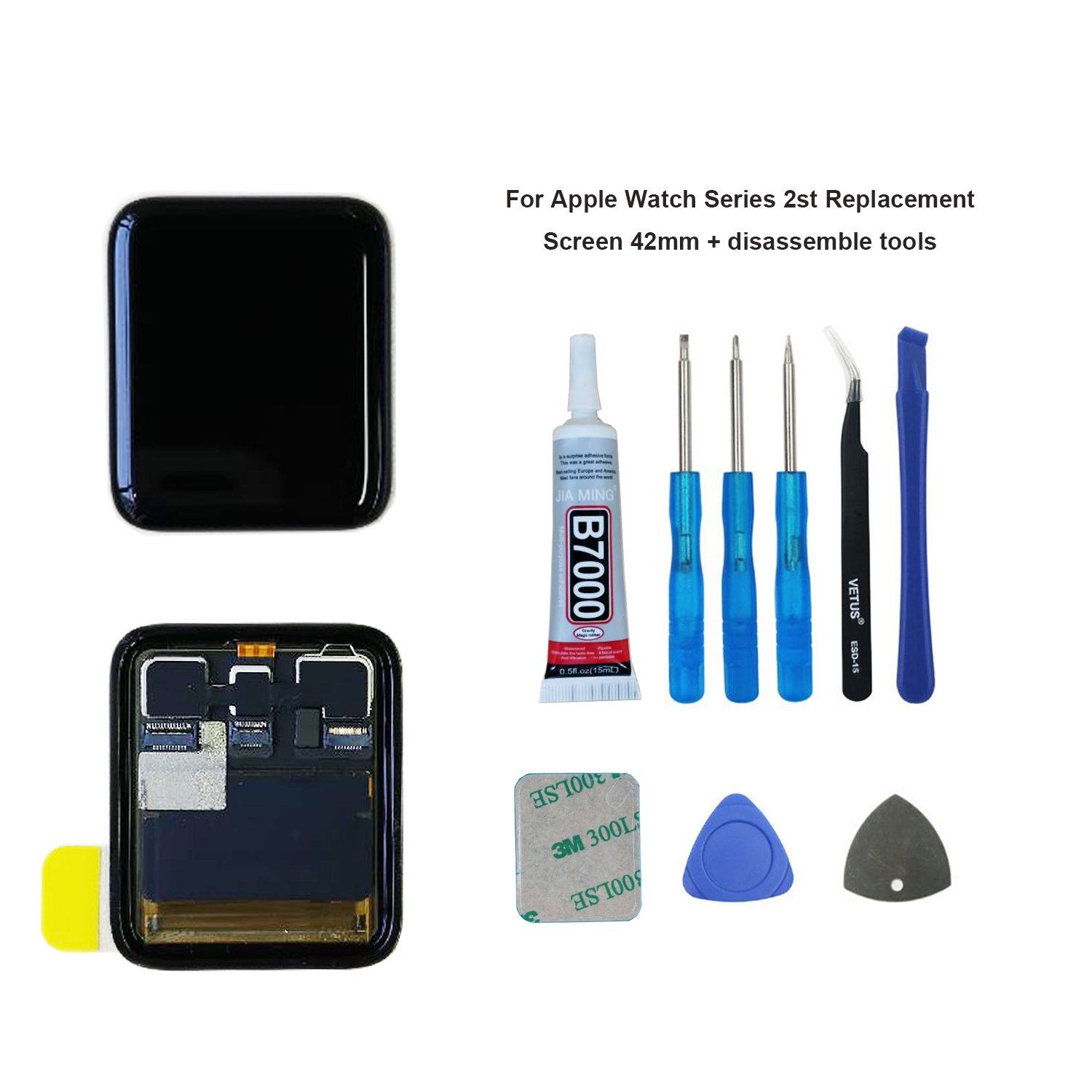 Swark Replacement Compatible Apple Watch 2nd Gen 42mm LCD Display Touchscreen Digitizer Assembly Tools
