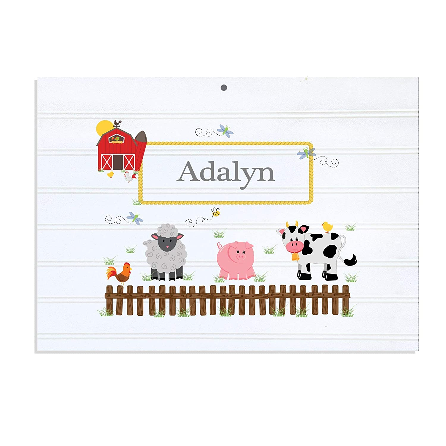 Personalized White Vintage Childrens Room Sign Barnyard Friends MyBambino