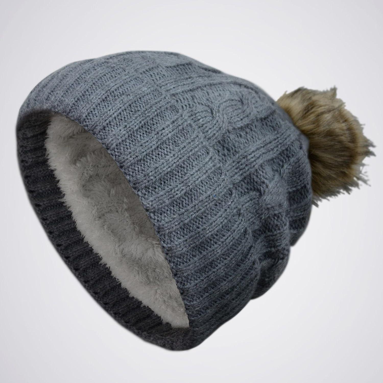 71f87bcf7b76 グレー厚手ポンポンニットSlouchyバギービーニーOversize冬帽子スキーキャップスカルレディース B01A6E4SW0