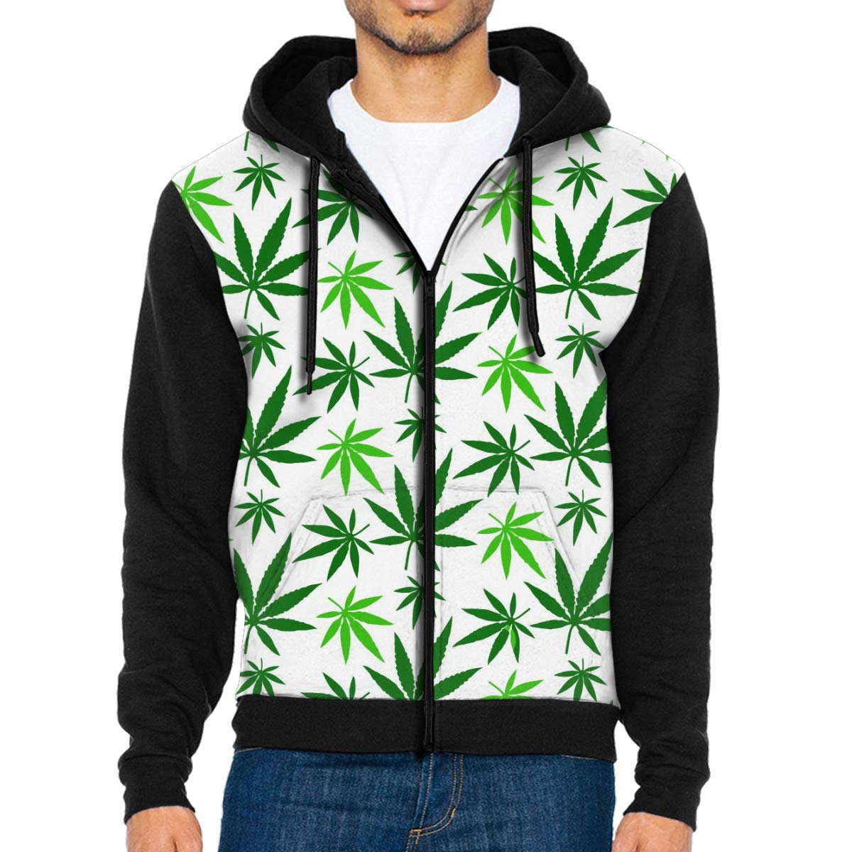 G-Fulling Cannabis Hemp Leaf Pattern 3D Print Fashion Men's Hooded Sweatshirts Drawstring Pullover Hoodies Pockets