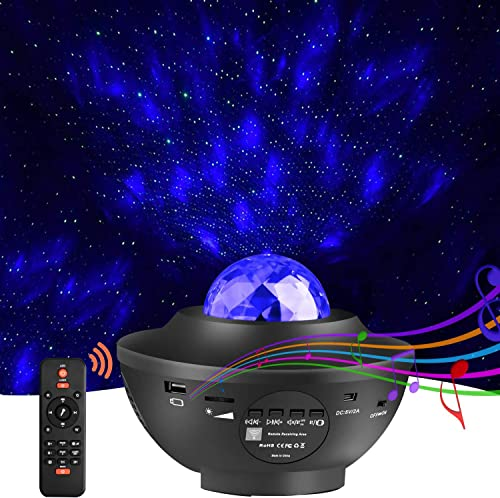Star Projector Light, LED Night Light Sky Star Ocean Wave Projection with Bluetooth Speaker Voice Control for Baby Kids Bedroom Holidays Party Home