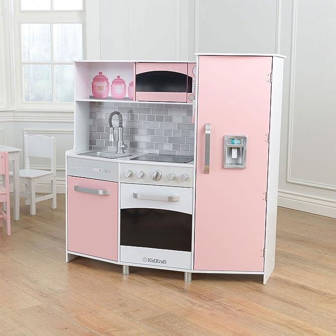 Kidkraft kinderküche spielküche aus holz küche rosa amazon de spielzeug