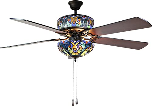 River of Goods Tiffany Style 52 Inch Width Stained Glass Halston LED Ceiling Fan