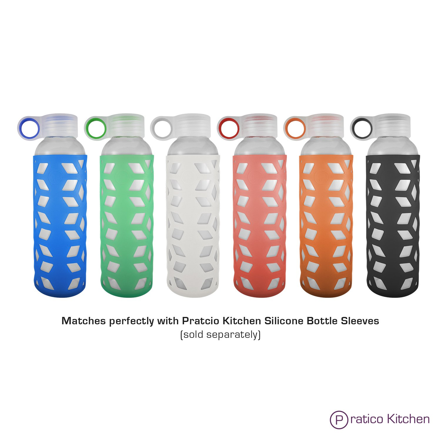 Pratico Kitchen 18oz Leak-Proof Glass Bottles, Juicing Containers, Water/Beverage Bottles - 6-Pack with Multi-Color Loop Caps by Pratico Kitchen (Image #7)