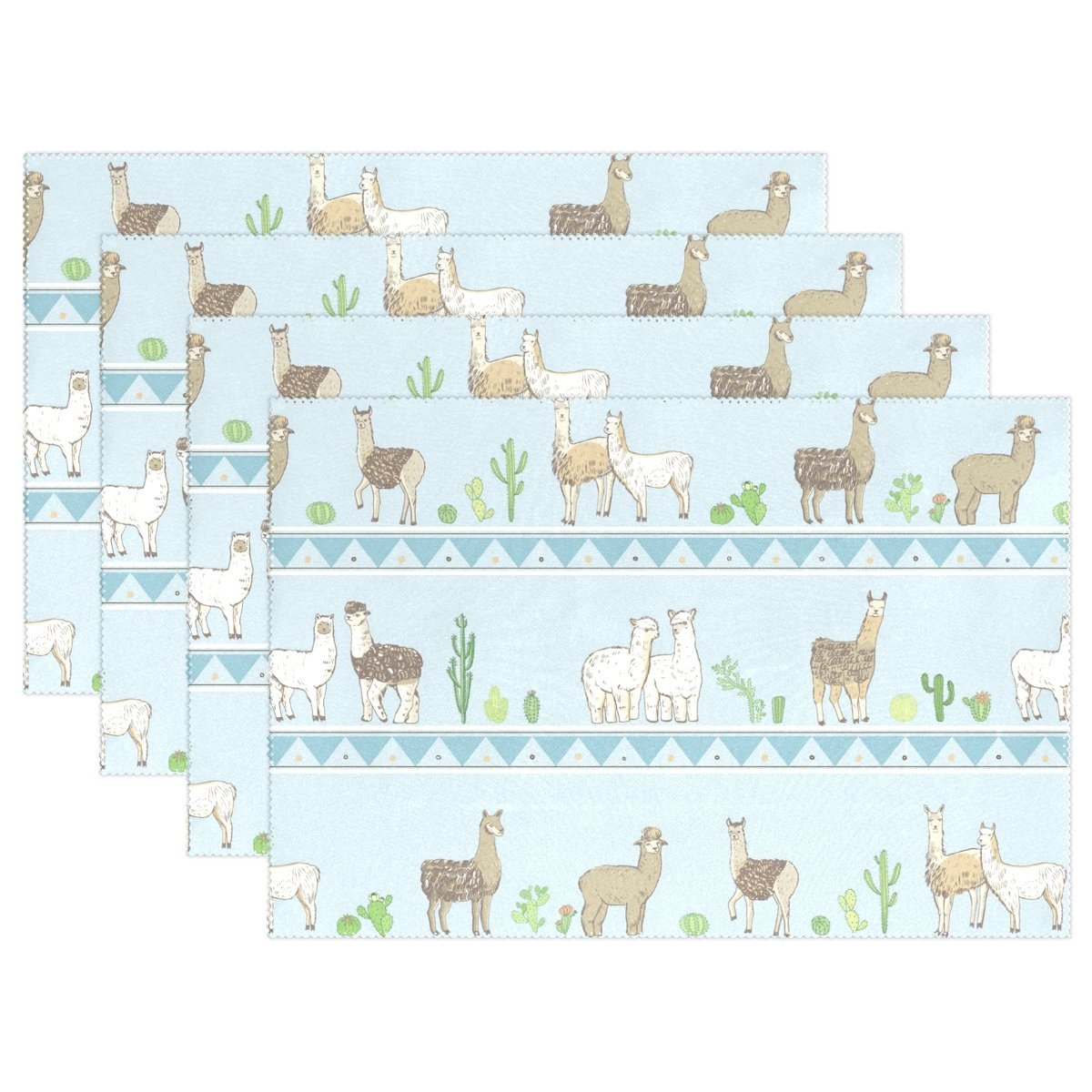Top Carpenter Funny Lama Animal And Cactus Place Mats Washable Heat Resistant Polyester Table Mats 12'' x 18'', Set of 6