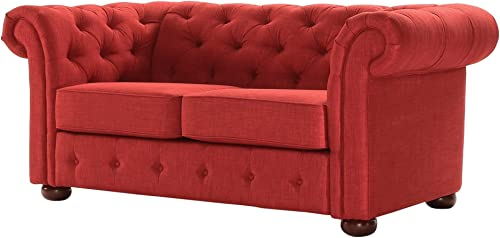 Inspire Q Knightsbridge Tufted Scroll Arm Csterfield Loveseat by Artisan Red
