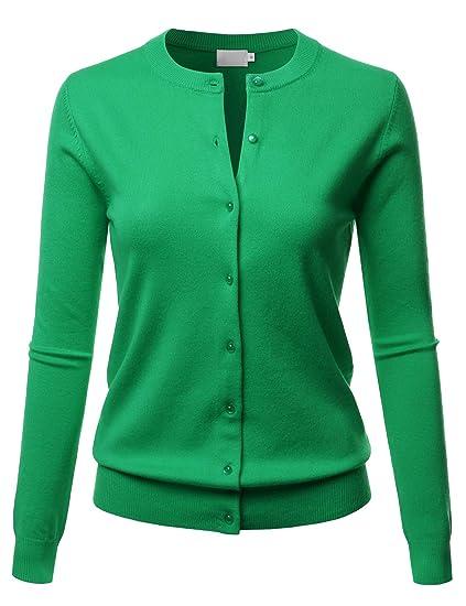 d3be1e9a52 LALABEE Women s Crew Neck Gem Button Long Sleeve Soft Knit Cardigan Sweater  APPLEGREEN S