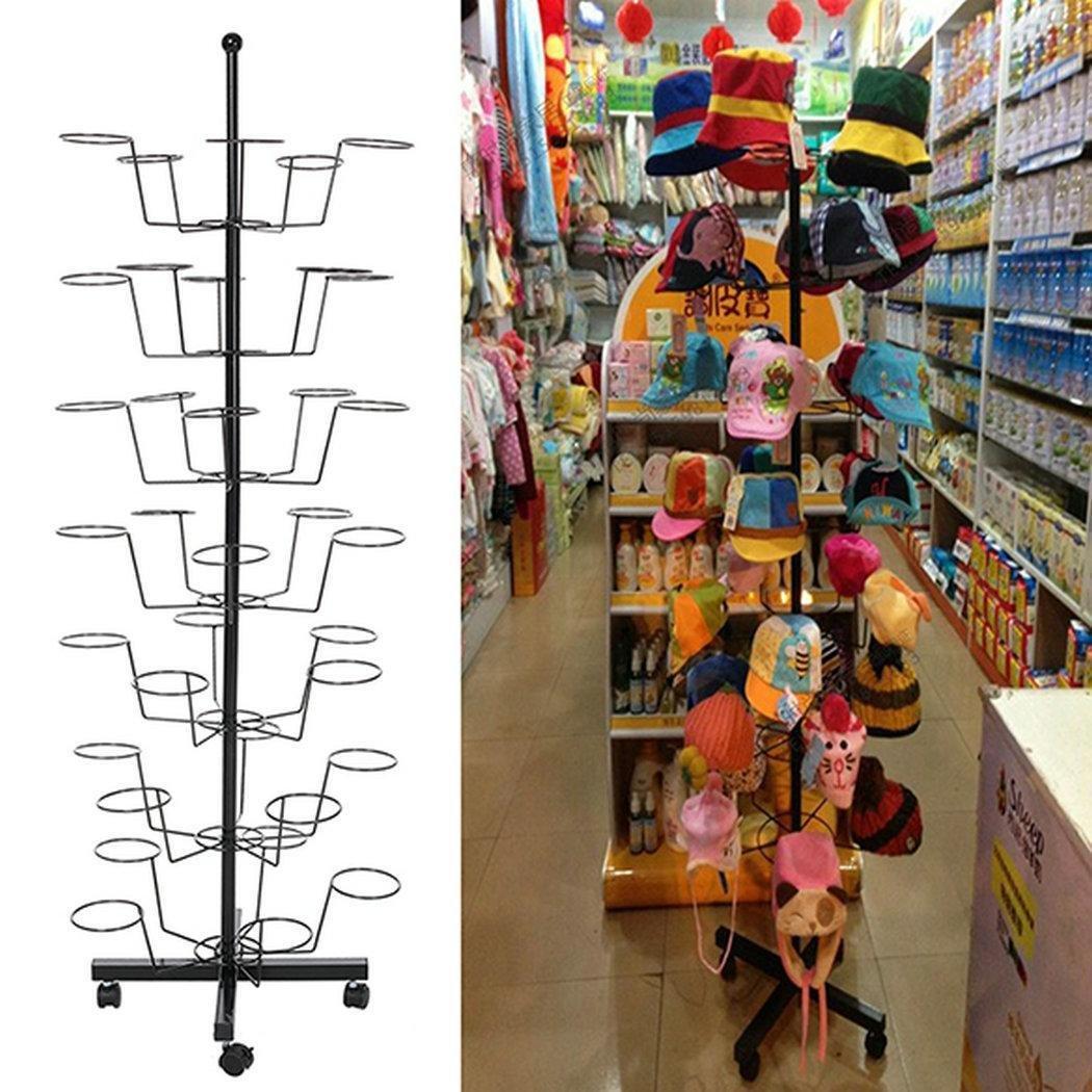 Dtemple 7-Tier 35 Hat Cap Rack/Metal Hat Display Stand Rotating Stand Hanger Rack Organizer