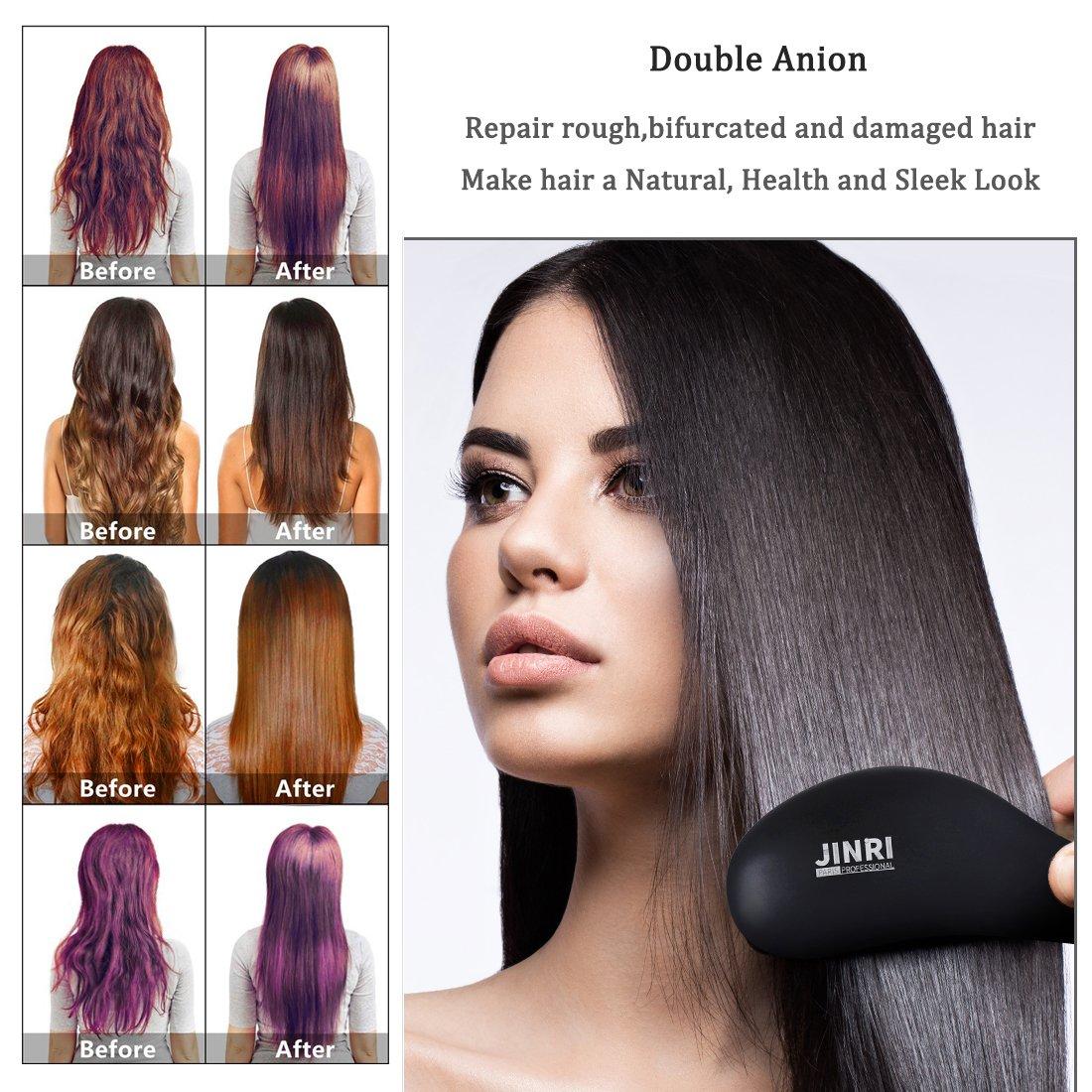 Hair Straightener Brush – Electric Ionic Ceramic Hair Straightening Brush,60 seconds Hot Fast Heating ,Tempreture Lock Auto Shut Off Function Straightener Brush,Black