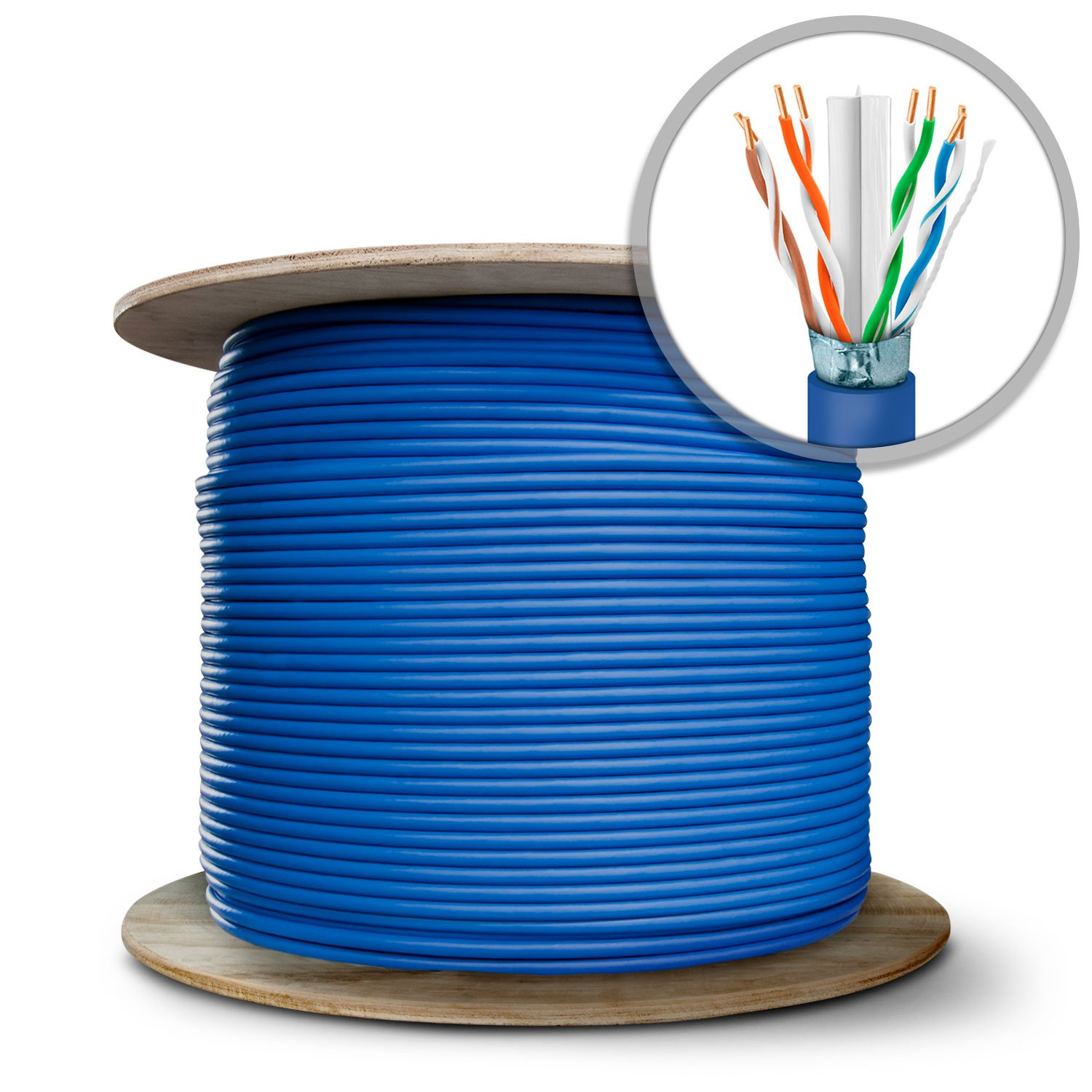 GearIT 1000 Feet Bulk Cat6a Augmented 10 Gig Shielded Ethernet Cable for Indoor / Ourdoor - Solid Twisted Pair - Cat 6a 23AWG STP Full Copper Wire PVC UV in Spool, Blue