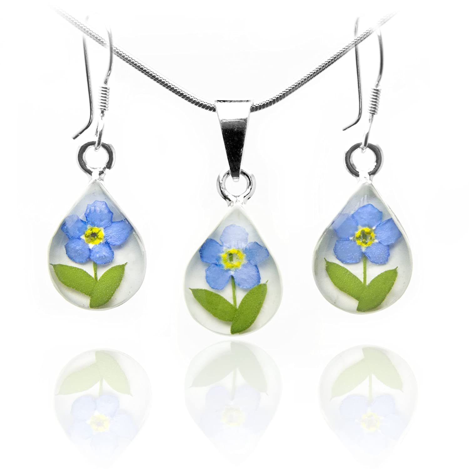 Sterling Silver Teardrop Necklace and Earrings by TAMI -Floral Jewelry- with Real Pressed Forget Me Not Flowers (Symbol of Eternal Love) in a White Background and 17.7 Mouse Tail Chain