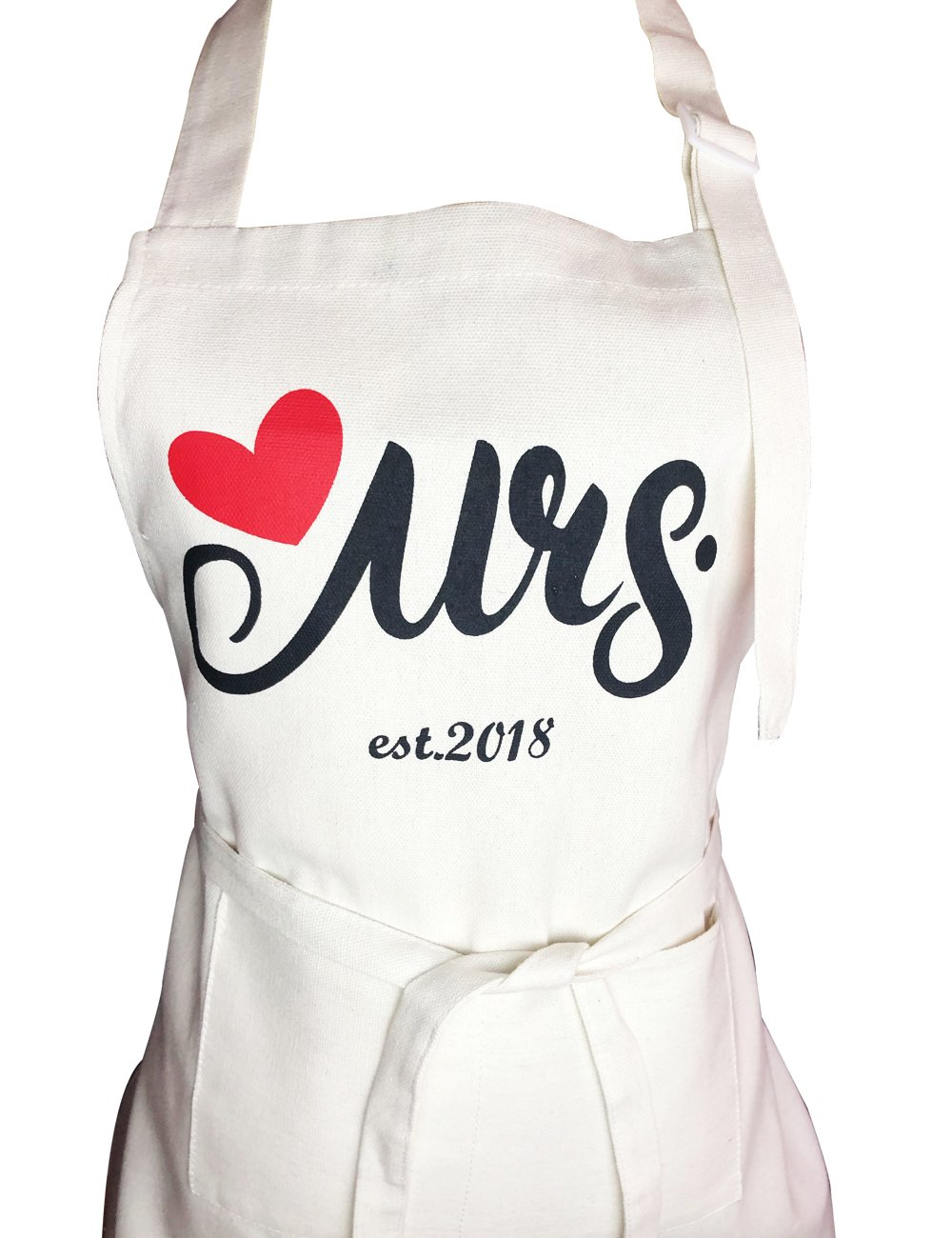 Aprons Gift Set With His and Hers Aprons,Heart-Shaped Ring Dish,Mr. and Mrs. Est. 2018 Kitchen Cooking Set With Gift Box, Funny Cooking Bibs for Wedding Marriage Newlyweds(Set of 2) (Heart) by NLooking (Image #3)