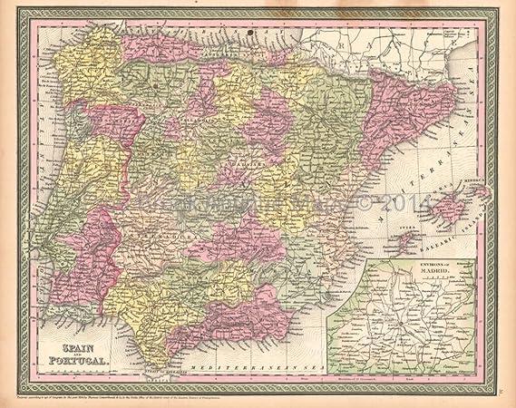 Map Of Spain 711.Spain Portugal Antique Map Desilver 1855 Authentic Spanish Decor
