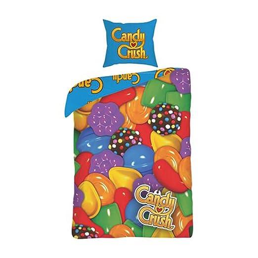 Candy Crush Juego de Fundas para edredón y almohadón Reversible ...