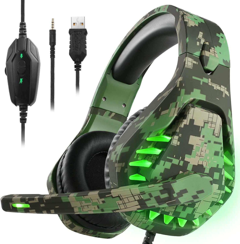 Auriculares para juegos para PS4 Xbox One PC Auriculares con micrófono Luz LED con cancelación de ruido sobre el oído Compatible con Nintendo Switch Games Laptop Mac PS3 (Camuflaje verde)