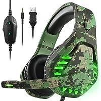 Gaming headset voor PS4 Xbox One PC hoofdtelefoon met microfoon LED licht Noise Cancelling Over Ear Compatibel met…