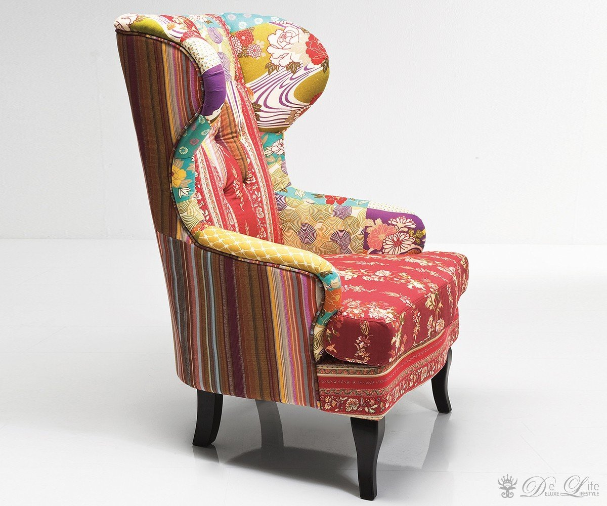Ohrensessel patchwork  Amazon.de: Ohrensessel Patchwork Red Bunt Lounge Sessel by Kare