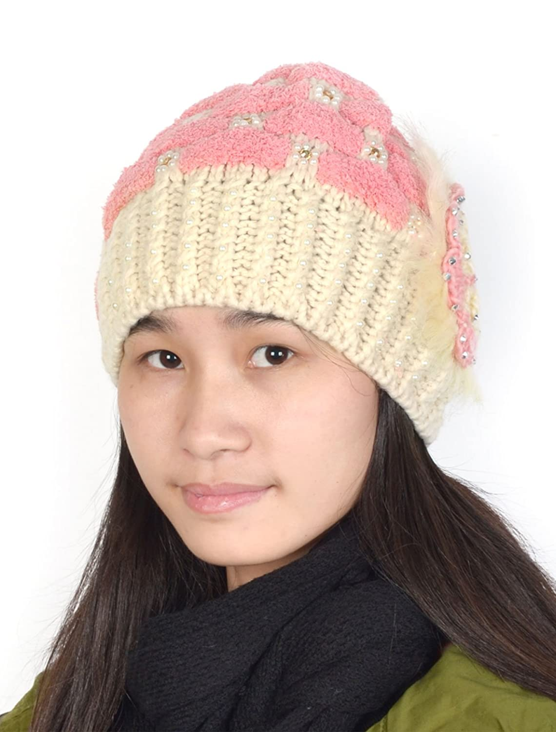 Pom-pom Style Pearl Decor Crochet Flower Accent Knitted Beanie Hat
