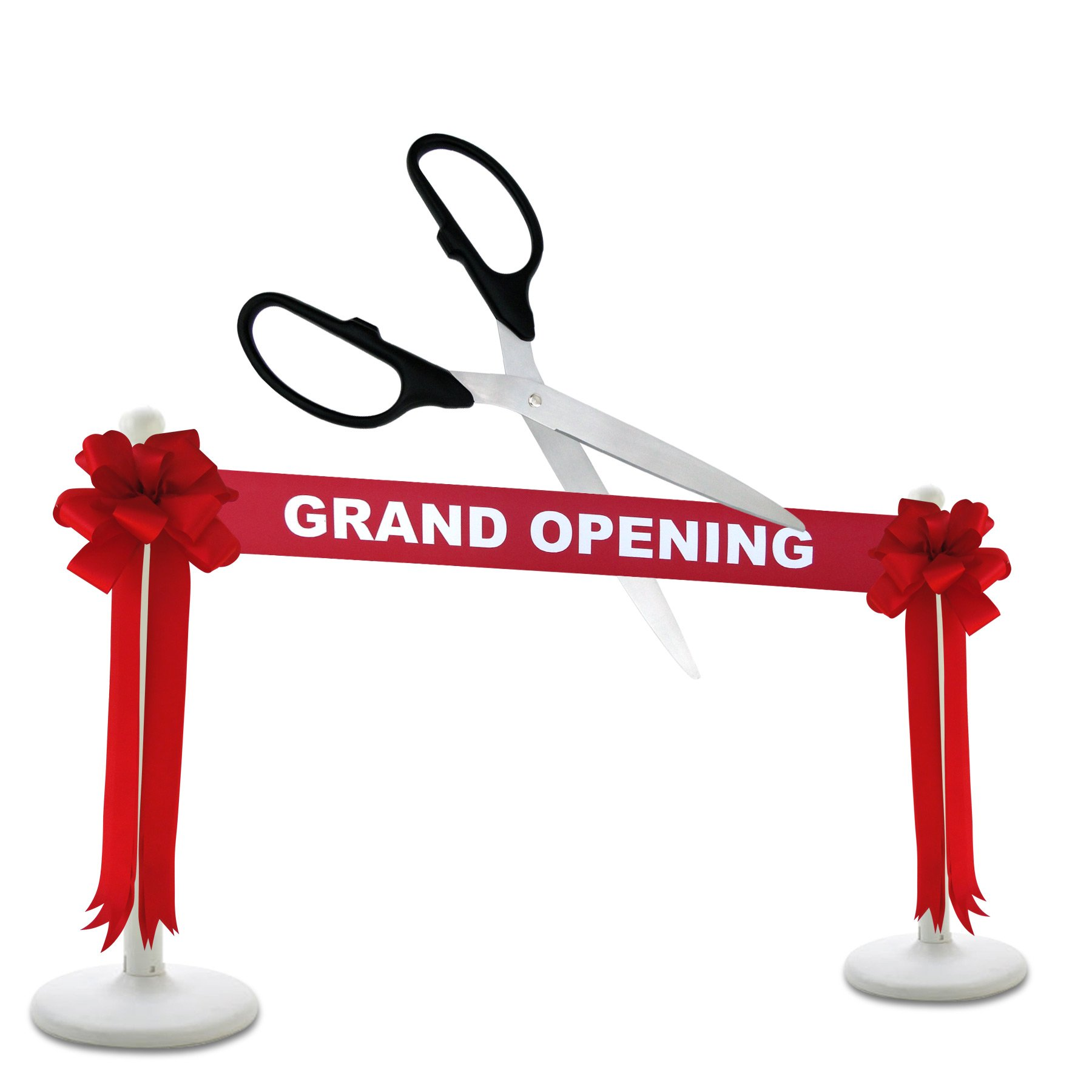 Deluxe Grand Opening Kit - 36'' Black/Silver Ceremonial Ribbon Cutting Scissors with 5 Yards of 6'' Red Grand Opening Ribbon, 2 Red Bows and 2 White Plastic Stanchions