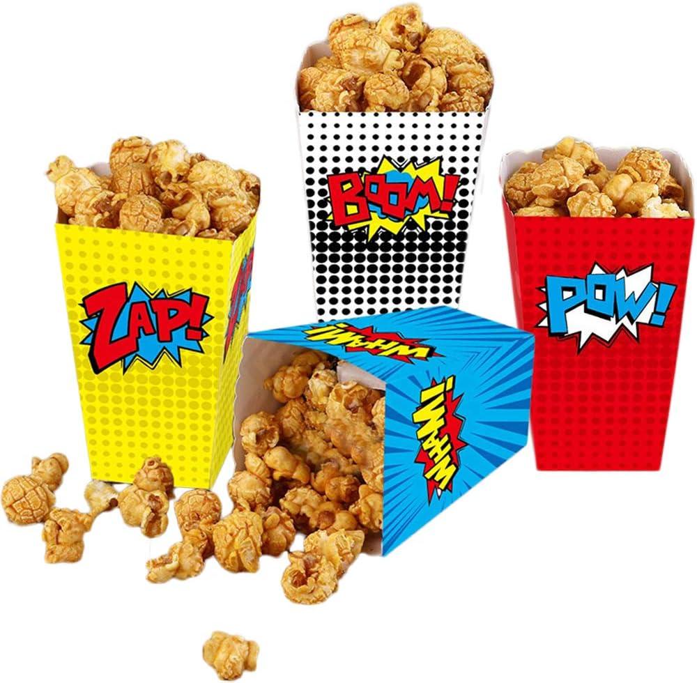 24 cajas de palomitas de maíz para los favores de la fiesta de superhéroes, cajas de palomitas de maíz de papel rayado Contenedor de dulces de cartón para fiestas de teatro Teatro