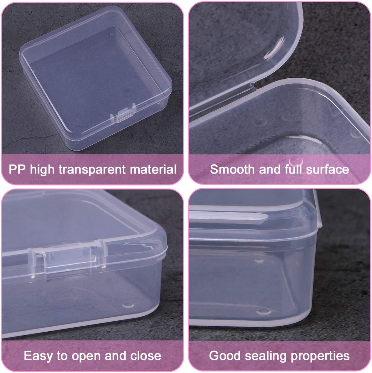 1.37 x 1.37 x 0.7 inches Jewelry 30 Pack Mini Clear Box Empty Case with Lid for Earplugs Aybloom Small Plastic Beads Storage Containers Crafts Hardware or Small Items Accessories