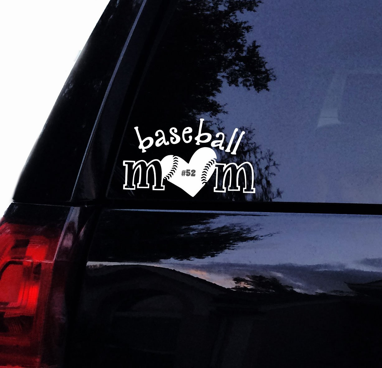 Amazon com baseball mom decal personalize number baseball mom vinyl car decal laptop decal window sticker 6 white automotive