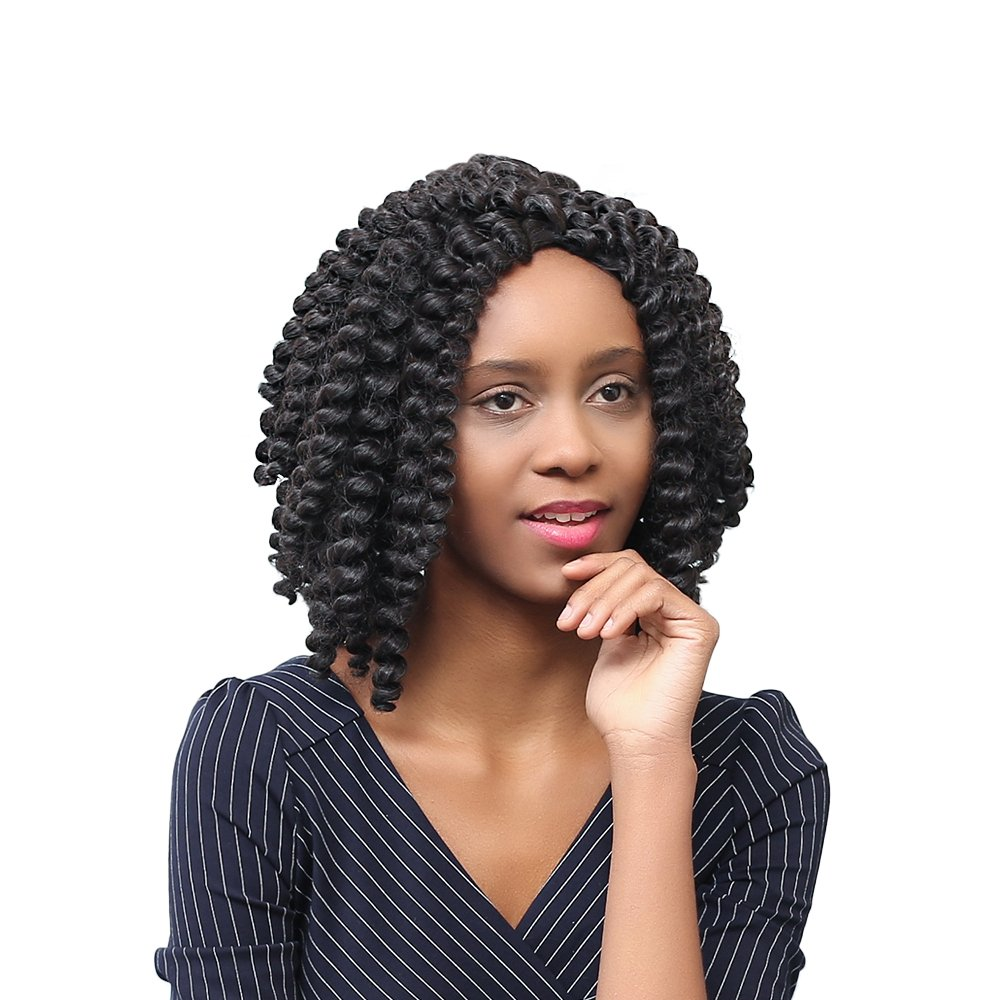 Amazon Anself 15 Woman Black Wigs Middle Curly Hair African