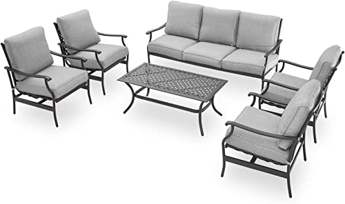 PatioFestival Patio Conversation Set All Weather Cushioned Outdoor Metal Furniture Set