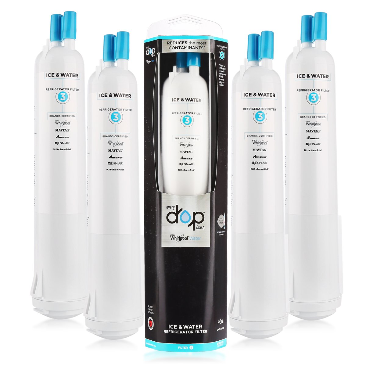 (4 Pack)Refrigerator Water Filter Replacement Whirlpool Fliter 3 EDR3RXD1 For EveryDrop 469930 4396841, 4396710 Refrigerator Water Filter