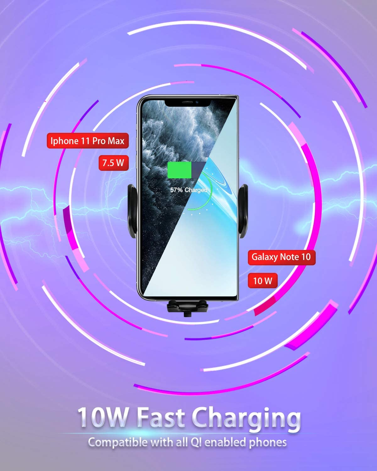 11 Pro//Pro MAX Xs Max,XR,XS,X Galaxy S10,S9,S8 Note 10,9,8 w//Power Adapter YoSpot Smart Wireless Charger Auto-Clamp Mount w//USB-C AC Vent /& Windshield Phone Holder Compatible with iPhone 11