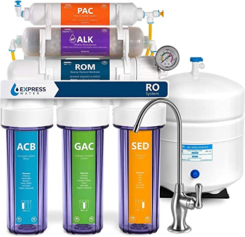 Express Water Reverse Osmosis Alkaline Water Filtration System 10 Stage RO Water Filter with Faucet and Tank Under Sink Water Filter with Alkaline Filter for Added Essential Minerals 100 GPD