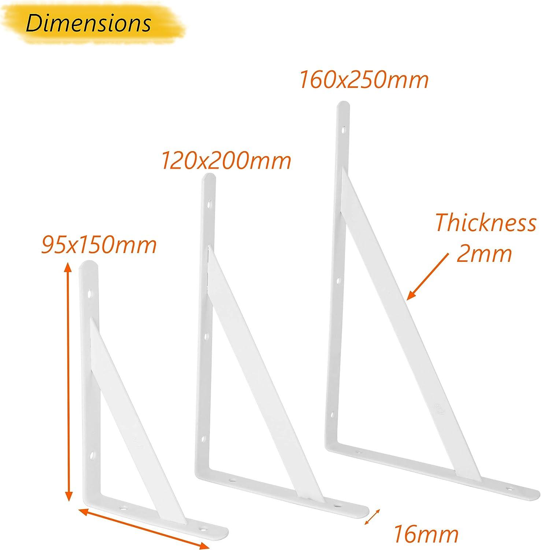 negro Escuadras en /ángulo recto para estantes muy resistentes para montar en la pared