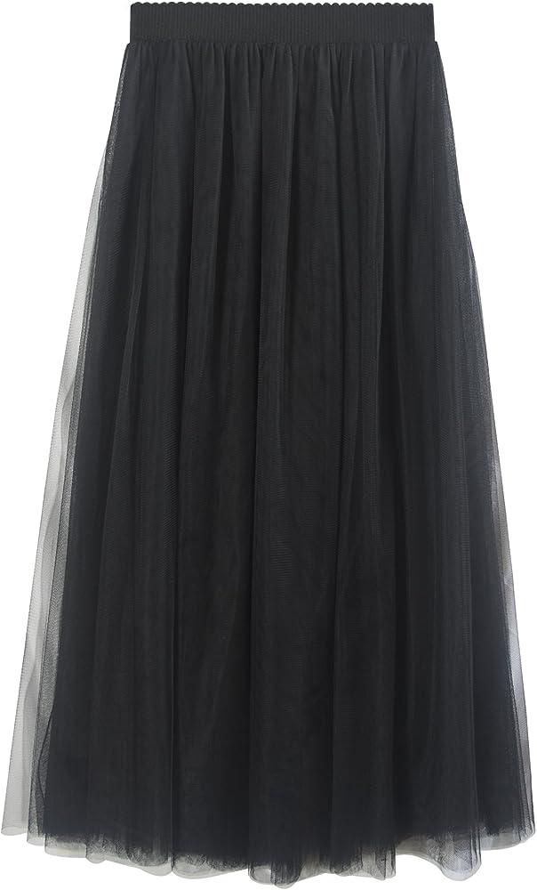 Falda Tul Larga Mujer 3 Capas de Tul Cintura Elástica Elegante ...