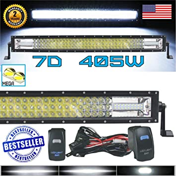 """540W 42/""""INCH TRI-ROW CURVED 7D LED LIGHT BAR COMBO JEEP DODGE RAM OFFROAD SUV"""
