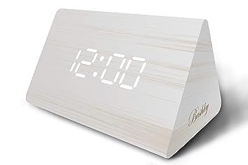 Bashley moderne triangle bois led alarme en bois numérique horloge