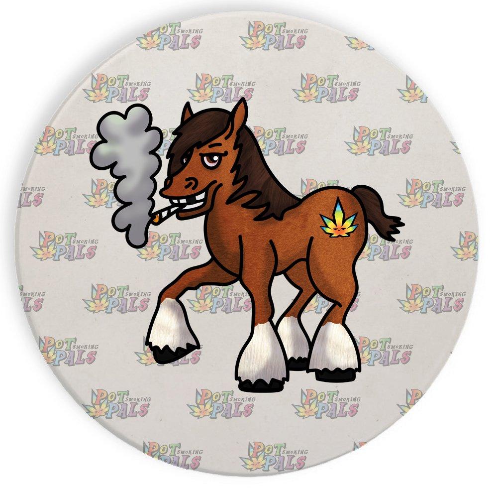 セラミックストーンコースターコースターセットの4つの – ポットSmoking Pals Horse   B074Q6B52Y