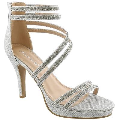 TOP Moda Dressy/Formal Sandals: Medium/High Heel Ankle Strap Open Toe Inna-1 Shoes | Heeled Sandals