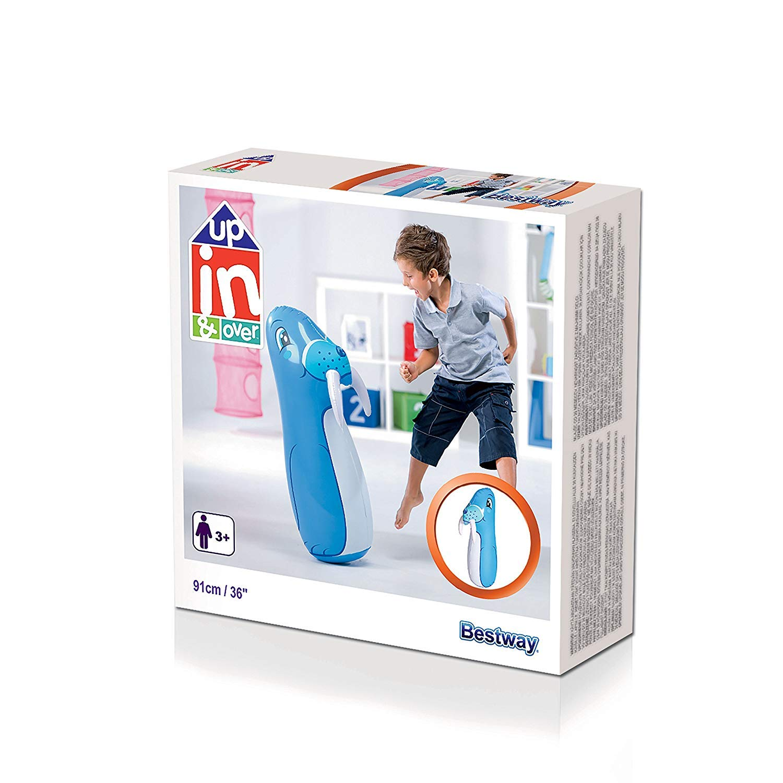 MovilCom® - Tentempié Inflable Figura Animales niños Hinchable tentetieso Interior Juguete Mono 87cm