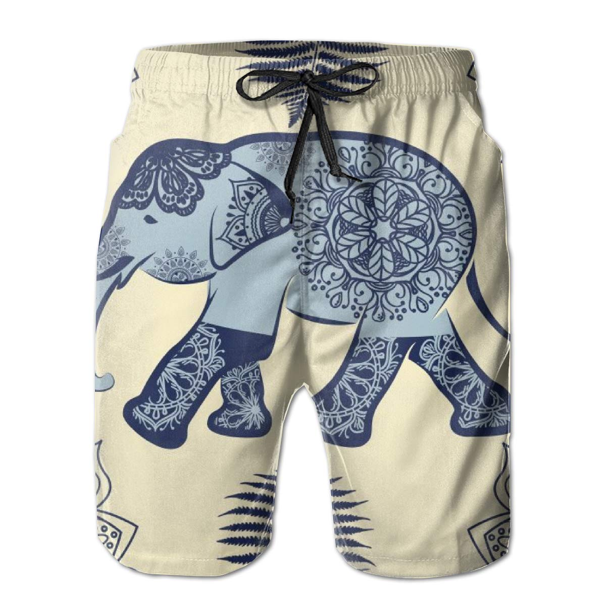Galaxy Voyage Elephant Animal Boy Mens Swim Trunks Surf Pants 3D Swimming Trunks Board Shorts for Men