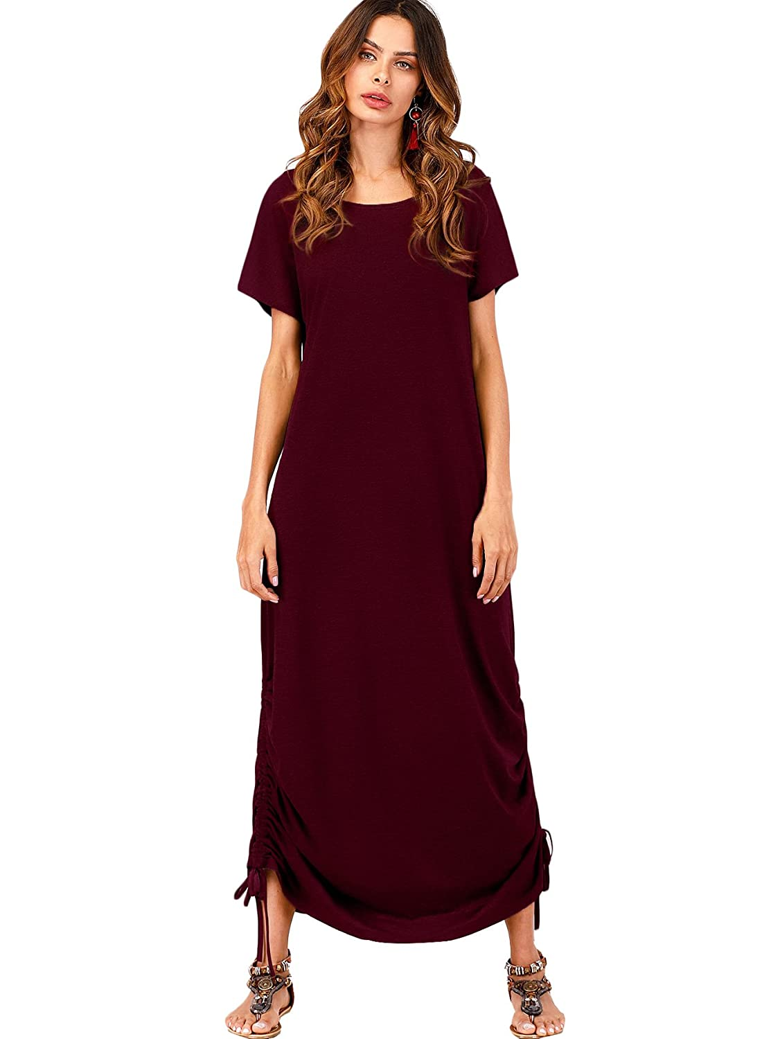 Burgundy Romwe Women's Drawstring Side Short Sleeve Loose Maxi Tunic Casual Long Dresses