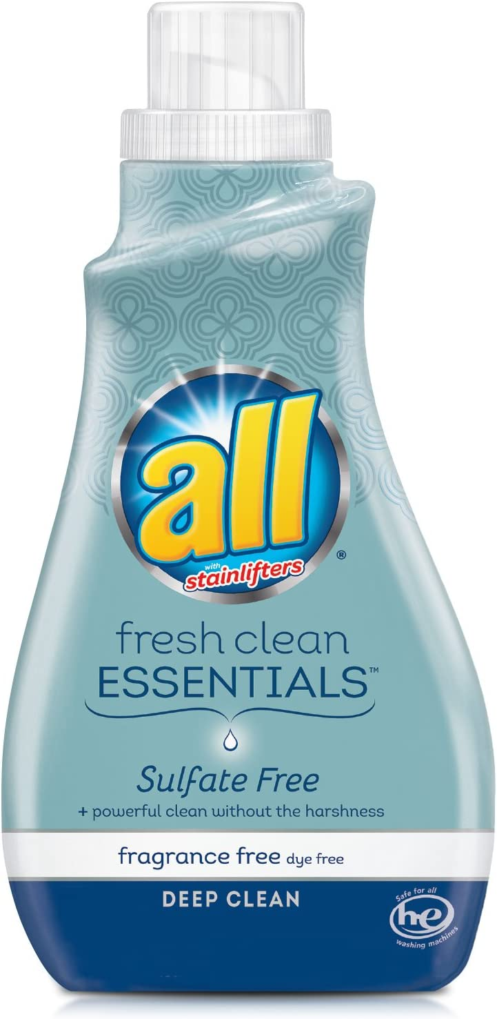 all Fresh Clean Essentials Laundry Detergent, Sulfate Free and Fragrance Free, 30 Fluid Ounces, 23 Loads, 30 Fl. Oz (1 Count)